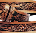 "Motorcycle Eagle Embossed Full Grain Leather Belt . 1½"" (38mm) Wide. Design: EM048"